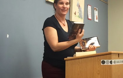 Kat Beyer at a book reading